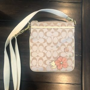 Coach Side Body Purse with Pink Flower